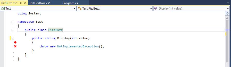 Code Fizzbuzz avec Visual Studio